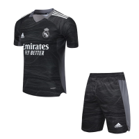 Real Madrid Soccer Jersey Goalkeeper Black Kit(Jersey+Short) 2021/22