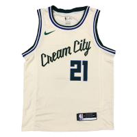 Men's Milwaukee Bucks Jrue Holiday #21 Nike White Cream Swingman Jersey - City Edition