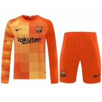 Barcelona Soccer Jersey Goalkeeper Long Sleeve Kit (Jersey+Short) Orange Replica 2021/22