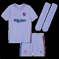 Barcelona Kid's Soccer Jersey Away Whole Kit(Jersey+Short+Socks) Replica 2021/22