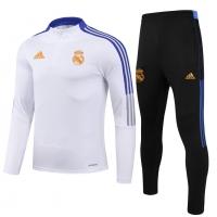 Kid's Real Madrid Zipper Sweat Kit(Top+Pants) White 2021/22