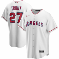 Men's Los Angeles Angels Mike Trout #27 Nike White Home 2020 Replica Jersey
